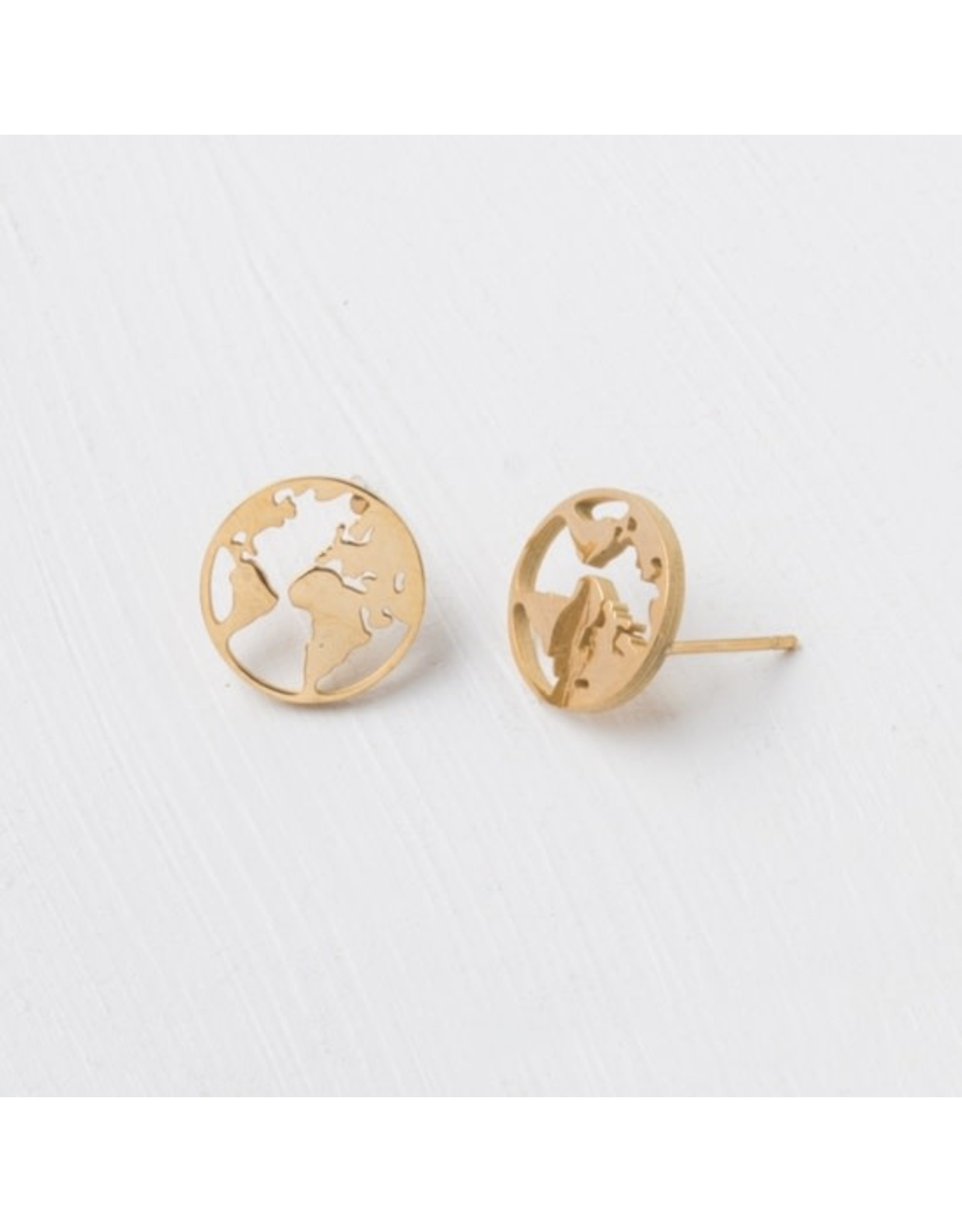 Gold Plated World Stud Earrings