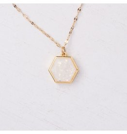 Glistening Geometric Opal Gold Plated Necklace, China