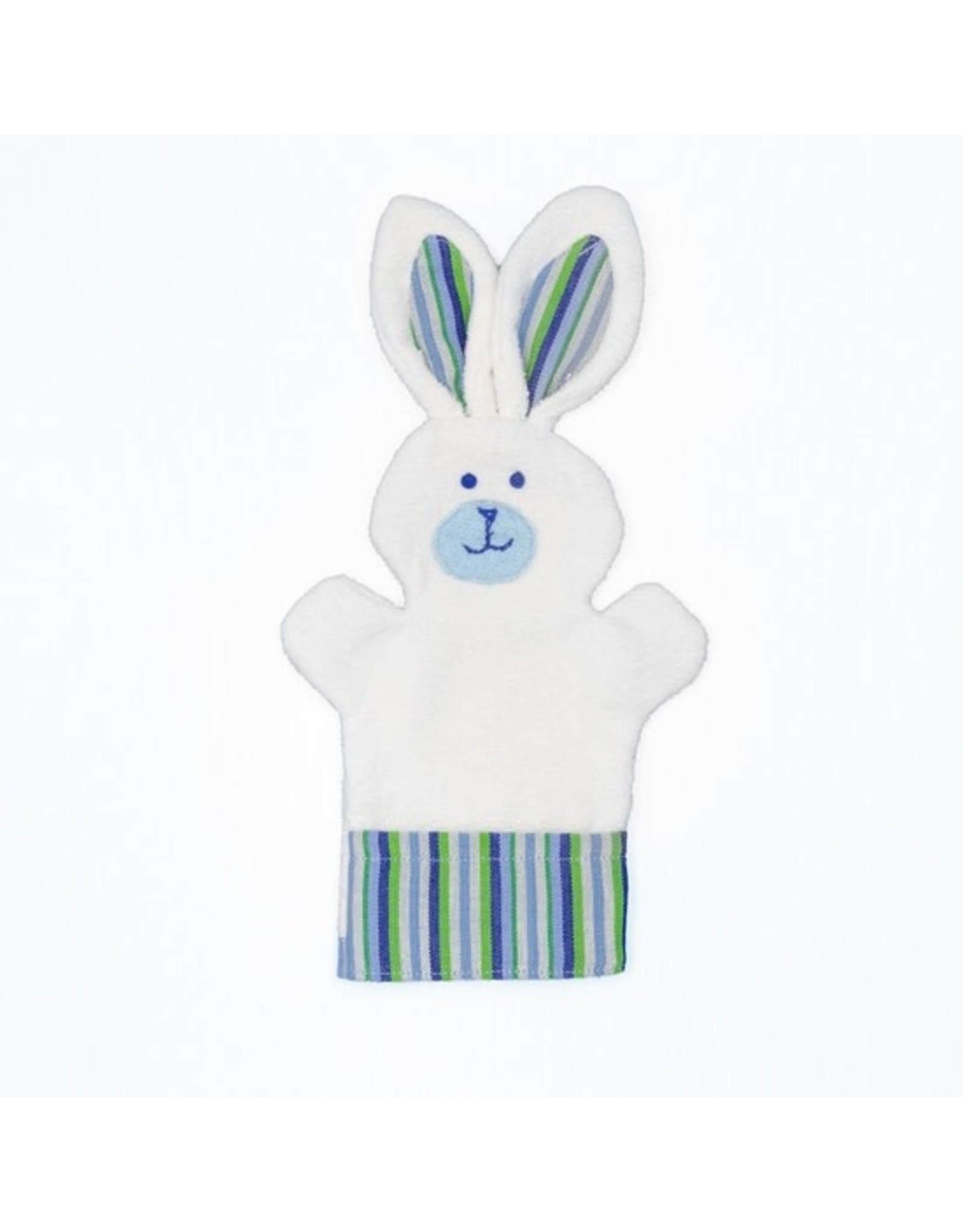 Bunny Puppet Washcloth, White w/ Blue Ears