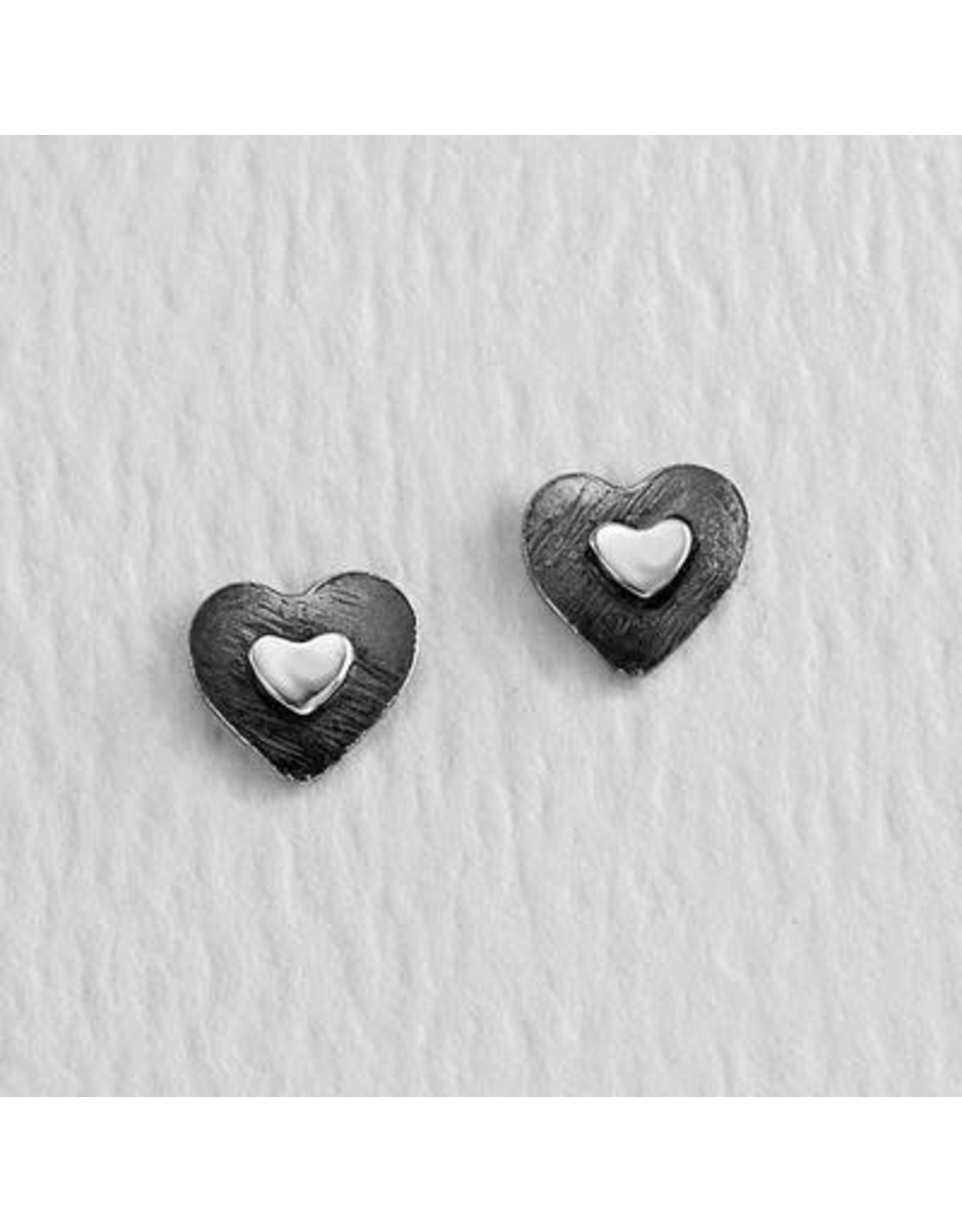 Double-Heart Sterling Silver Earrings, Mexico