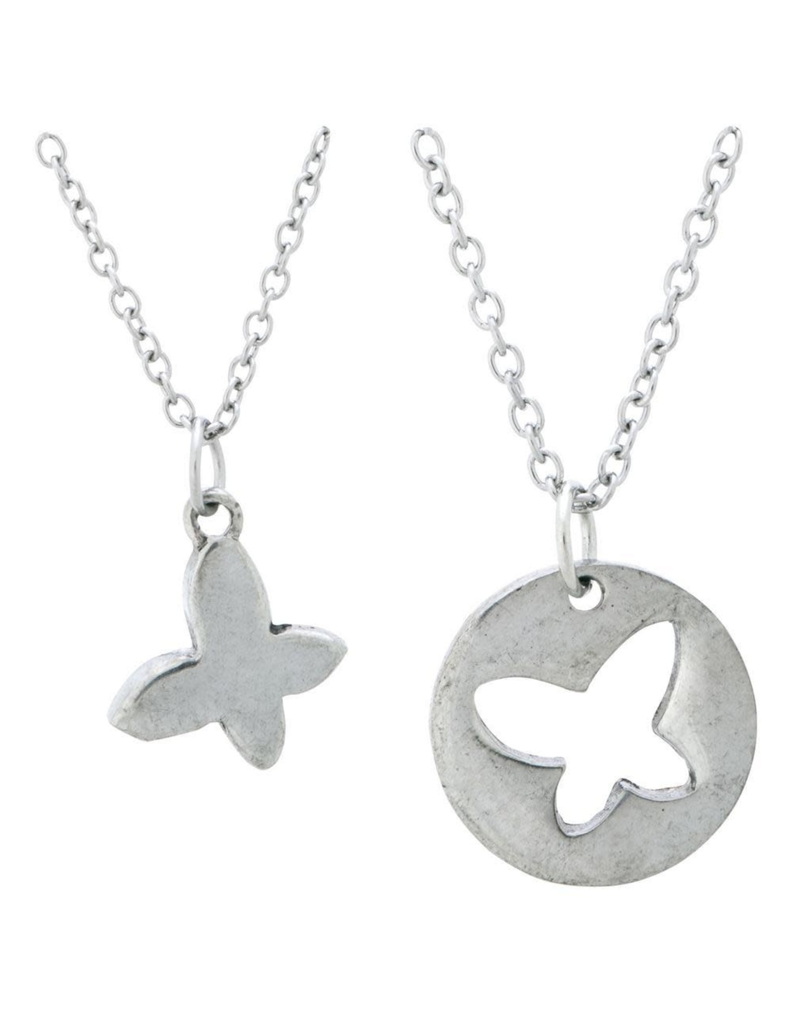 Mom and Daughter, Butterfly Pendant Necklace