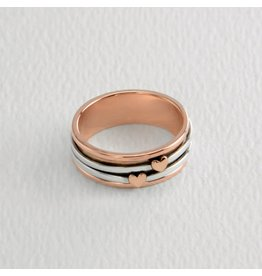 Hearts Sterling & Copper Spinning Ring
