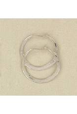 20mm Sterling Silver Hammered Hoop Earrings, Mexico