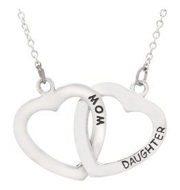 Pendant Necklace, Mother and Daughter, Linked Hearts