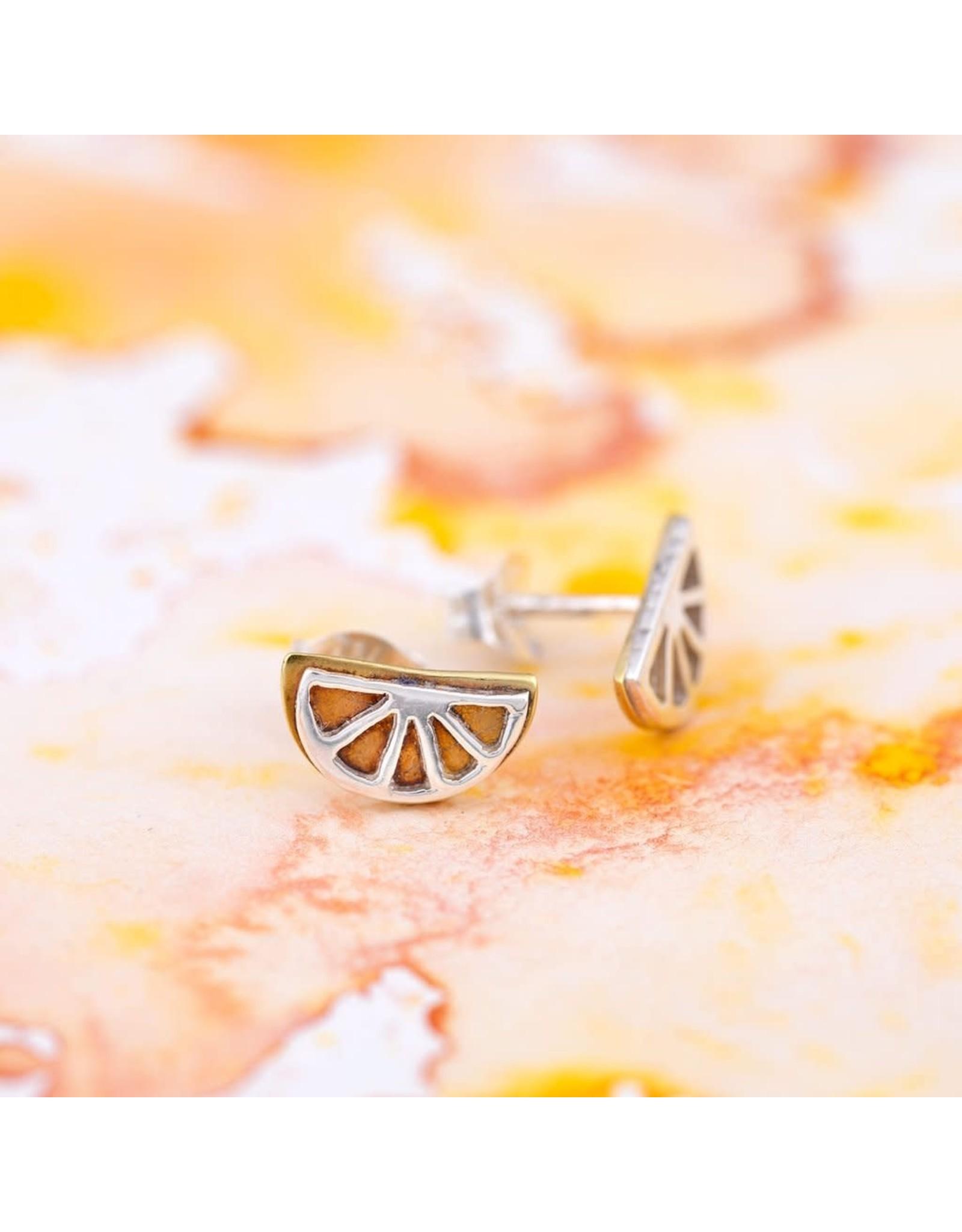 Lemon Slice Post Sterling Earrings, Mexico