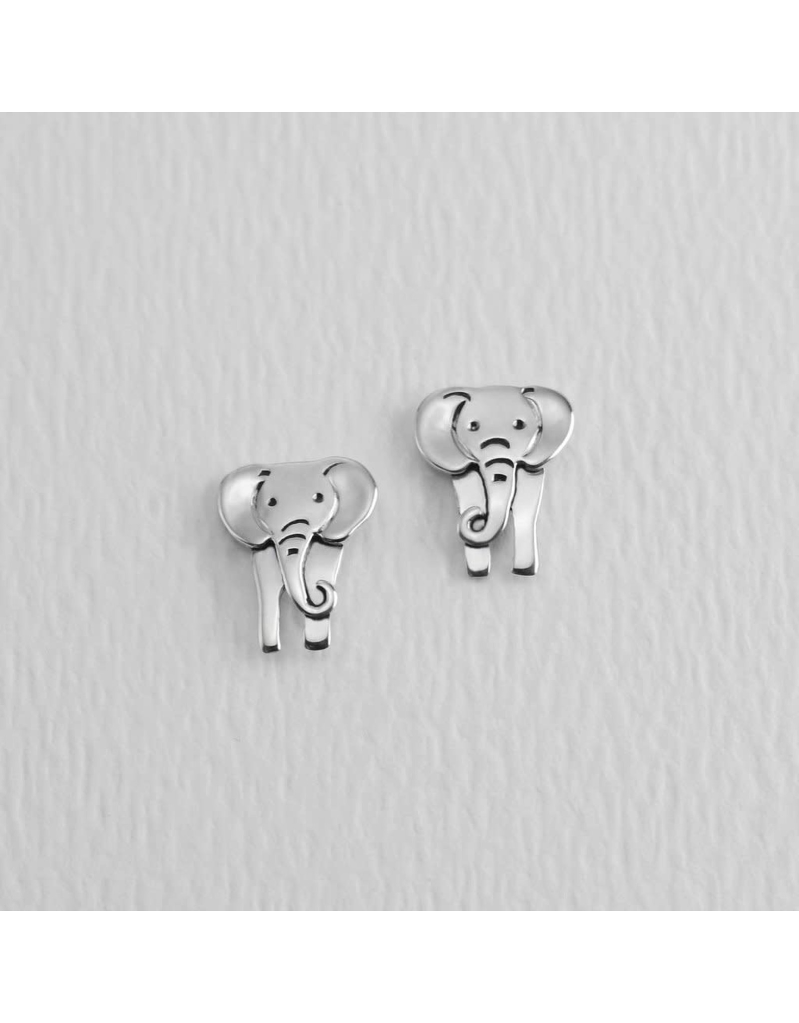 Elephant Sterling Silver Post Earrings, Mexico
