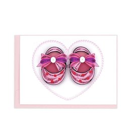 Pink Baby Booties Quilled Gift Enclosure Card, Vietnam