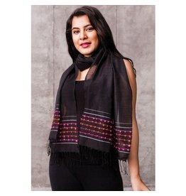 Amala Hand Woven Silk, Wool, and Cotton Scarf  Black