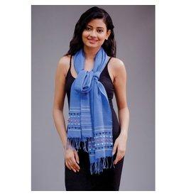 Amala Handwoven Silk, Wool, Cotton Scarf, Blue