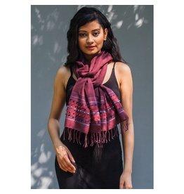 Amala Handwoven Silk, Wool, Cotton Scarf, Plum