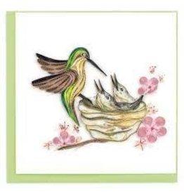Hummingbird and Babies Quilling Card, Vietnam