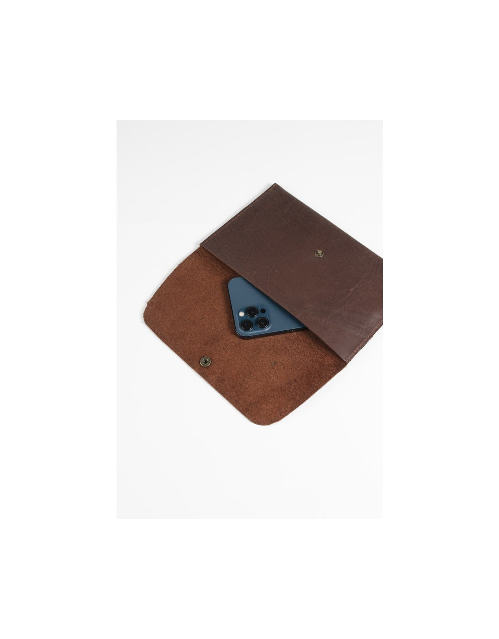 Brown Leather Clutch, India