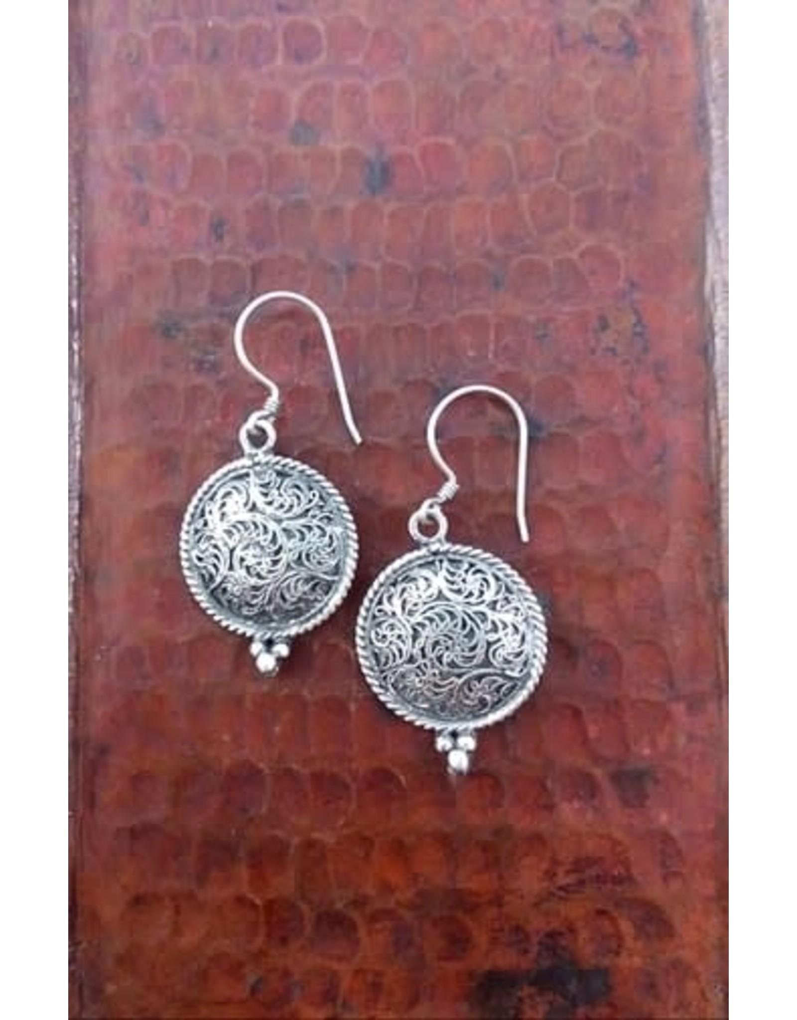Sterling Silver Round Filigree Earrings