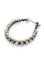 Silver bead and triple bead charm, Thailand