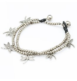 Silver bead and dragonfly charm, Thailand