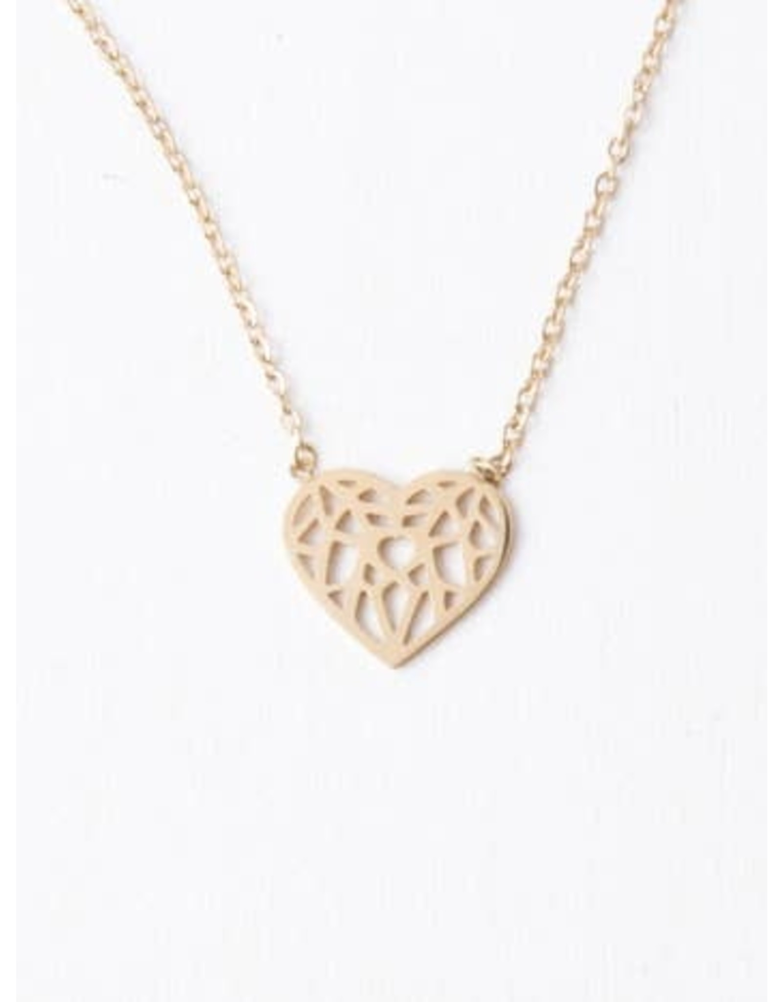 Ling Gold Heart Filigree Necklace