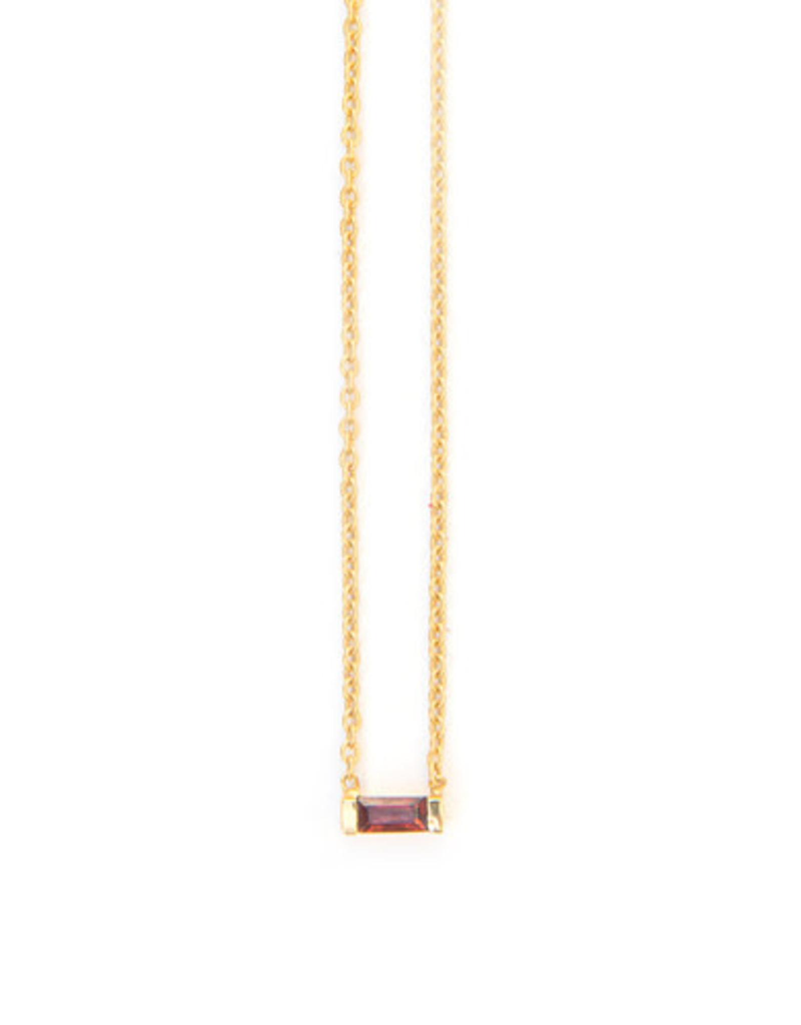 Prism Brass Necklace, Garnet, India