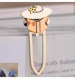 Mixed Metal Paper Clip Book Mark, Reading Lady
