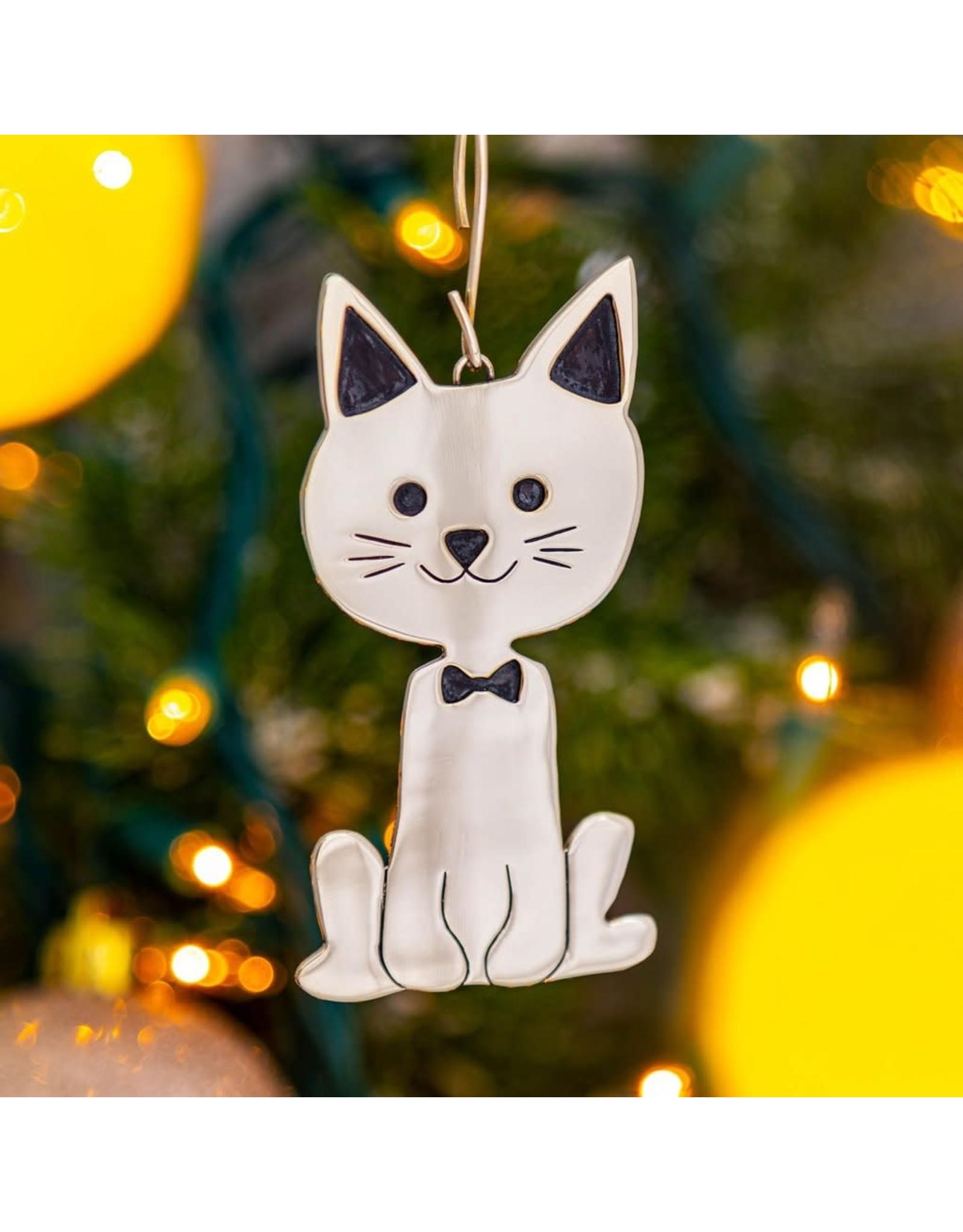 Sweet Cat Mixed Metal Ornament