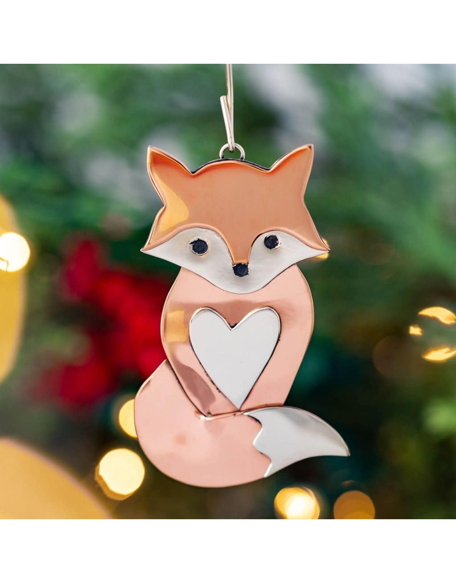 Mixed Metal Fox Ornament