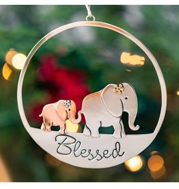 Mixed Metal Blessed Elephant Family Ornament