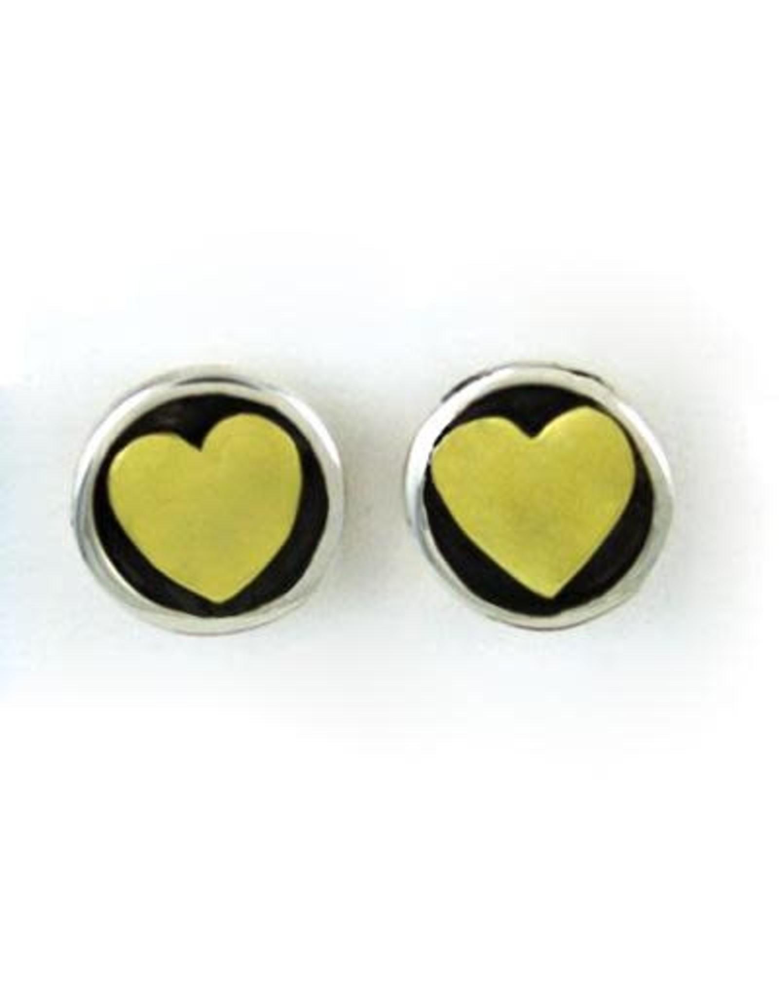 Heart Sterling and Brass Stud Earrings