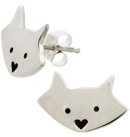 Cat Face Sterling Stud Earrings, Mexico