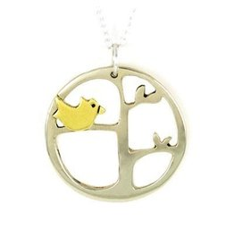 Momma Bird Mixed Metals Sterling Necklace