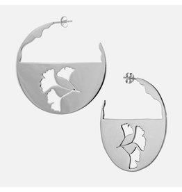 Sterling Ginko Cutout Earrings