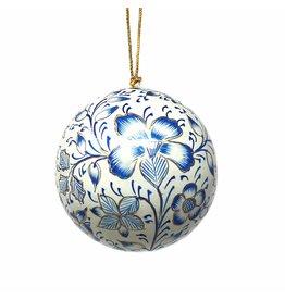 Handpainted Blue Floral Ornament