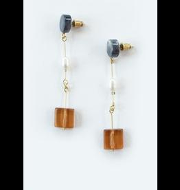 Cubist Earrings, Amber, India