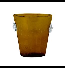 Handblown Glass Amber Ice Bucket, Guatemala
