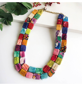 Kantha Cubist Necklace, India