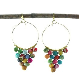 Kantha Pyramid Hoop Earrings