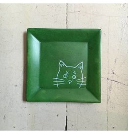 Peeking Cat Soapstone Dish
