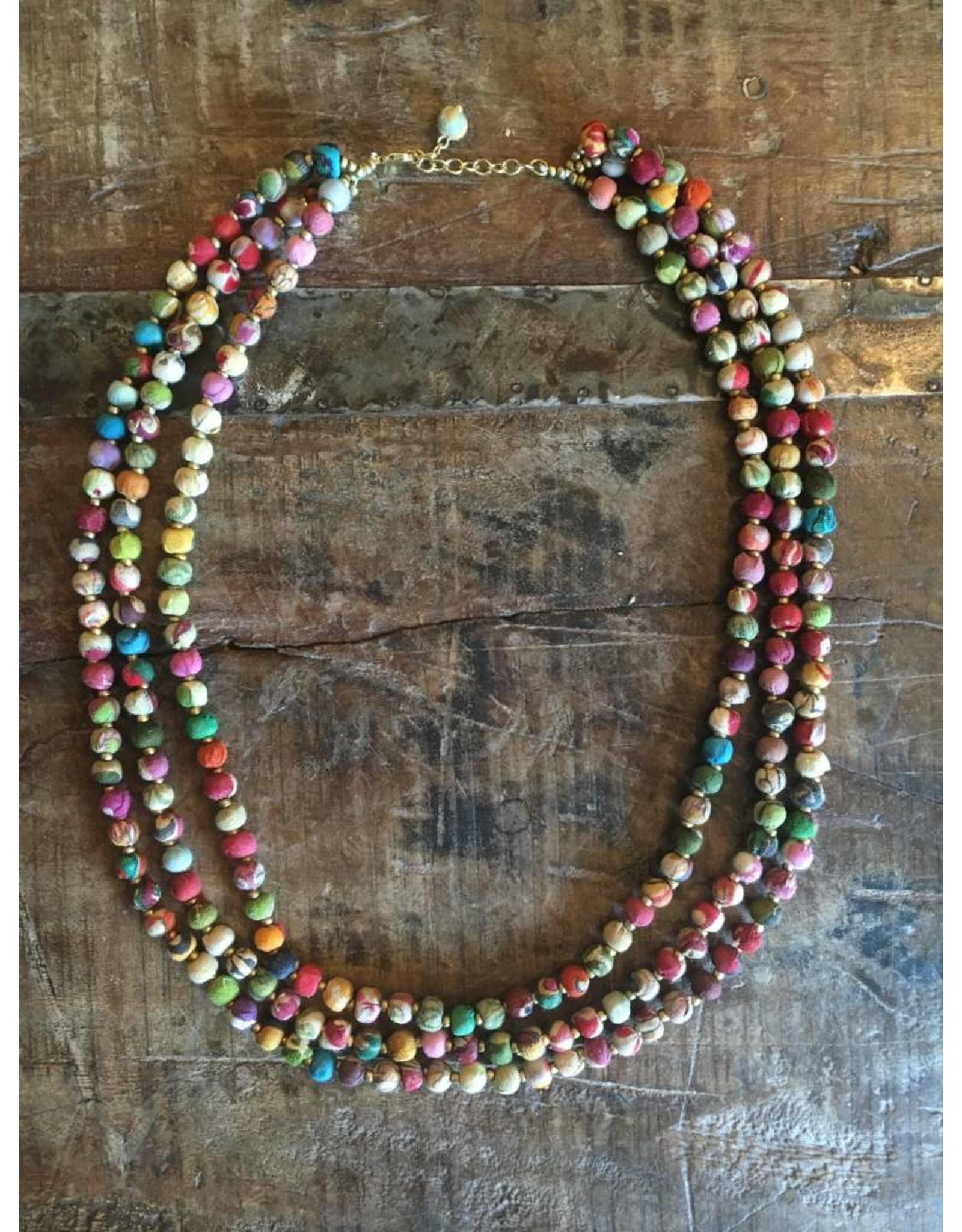 Sari Triple Strand Necklace, India
