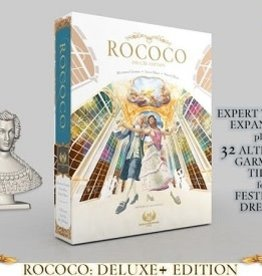 Eagle-Gryphon Games Rococo Deluxe Plus: The Queen figurine, the Expert Tailors expansion and the alternate Festivity Dresses garment tiles (FR)