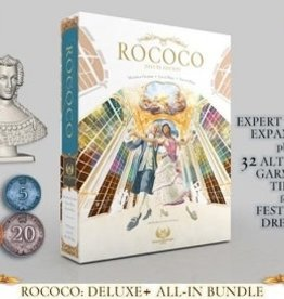 Eagle-Gryphon Games Rococo Deluxe: Queen figurine, the Expert Tailors expansion and the alternate Festivity Dresses garment tiles, Metal Components (FR)