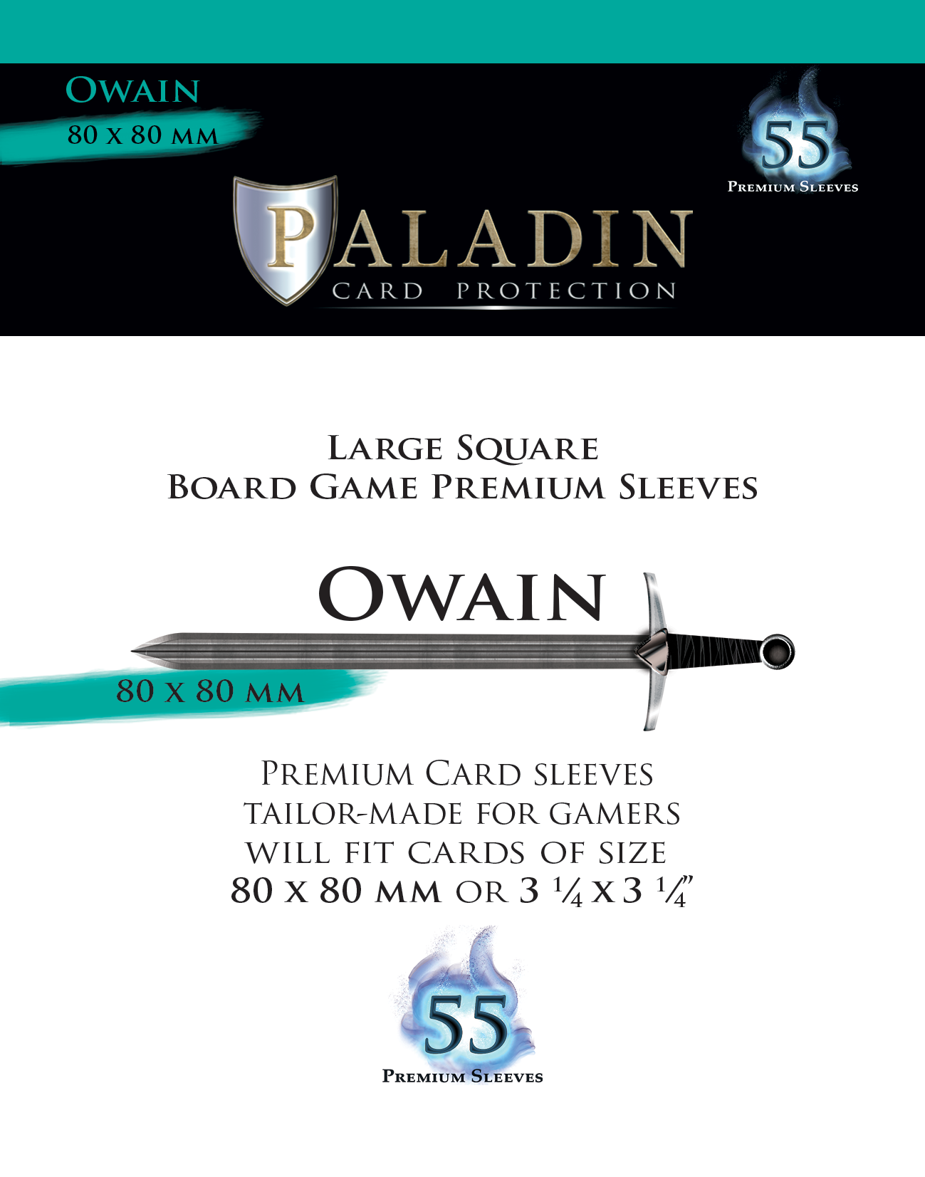 Paladin-Owain «Large Square» 80mm X 80mm / 55 Sleeves