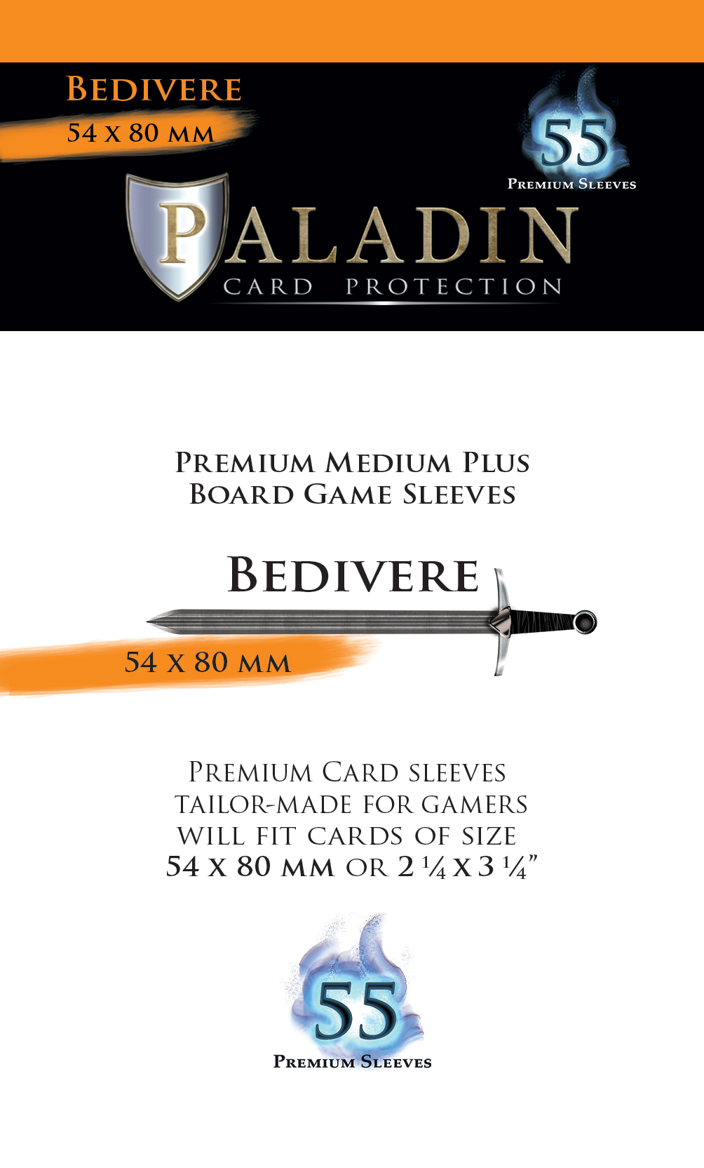 Paladin-Bedivere «Medium Plus Board Game» 54mm X 80mm / 55 Sleeves