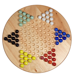 """Wood Expressions Précommande: Chinese Checkers, 11.5"""" Wood W/Marbles (EN)  Q1 2021"""