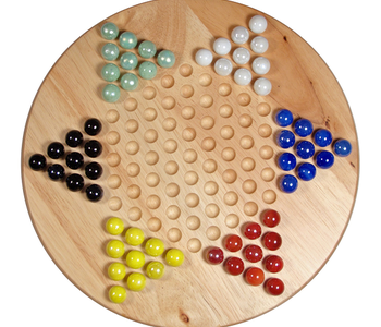 """Chinese Checkers: 11.5"""" Wood W/Marbles (EN)"""