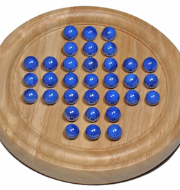 "Wood Expressions Solitaire: 9"" Wood Game W/Marbles, Blue (EN)"