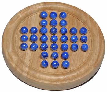 "Solitaire: 9"" Wood Game W/Marbles, Blue (EN)"