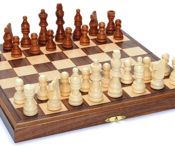 """Chess Set: Folding Wood 11.5"""" Walnut (EN)"""