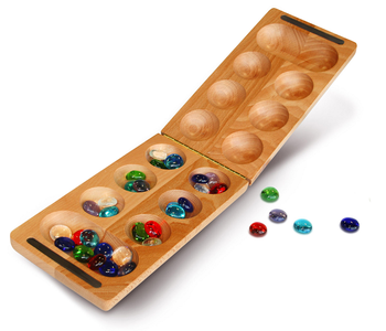 "Mancala: Folding 8.5"" African Stone Game"