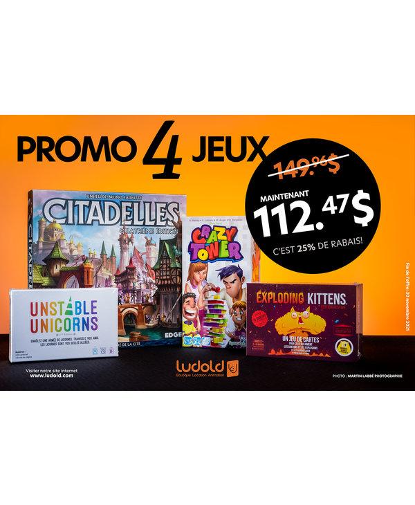Bundle: Citadelles+Unstable Unicorns+Crazy Tower+Exploding kittens: Festive (FR)