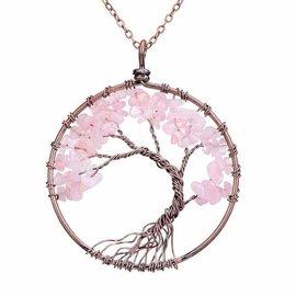 "TREE OF LIFE GEMSTONE NECKLACE 17.5"""