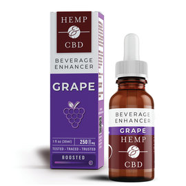 HEMP & CBD - NANO-EMULSIFIED GRAPE BEVERAGE ENHANCER - 250MG