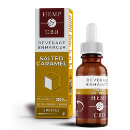 HEMP & CBD - NANO-EMULSIFIED SALTED CARAMEL BEVERAGE ENHANCER - 250MG